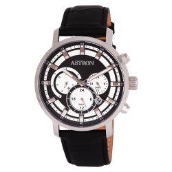 ASTRON 8010-1 divatos sportos férfi karóra, ezüst színű nemesacél tok, fekete bőrszíj, fekete számlap, keményített ásványüveg, quartz szerkezet, 50 m (5 ATM) vízállóság