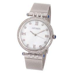 ASTRON 8013-7 elegáns női karóra, ezüst színű nemesacél tok, ezüst színű nemesacél csat, fehér számlap, keményített ásványüveg, quartz szerkezet, cseppmentes vízállóság