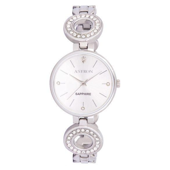 ASTRON 8029-8 női karóra, ékszeróra, ezüst színű nemesacél tok, ezüst színű nemesacél csat, ezüst színű számlap, keményített ásványüveg, quartz szerkezet, cseppmentes vízállóság